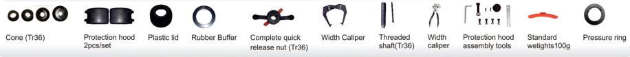 phụ kiện tiêu chuẩn máy cân bằng lốp xe con PL-1150
