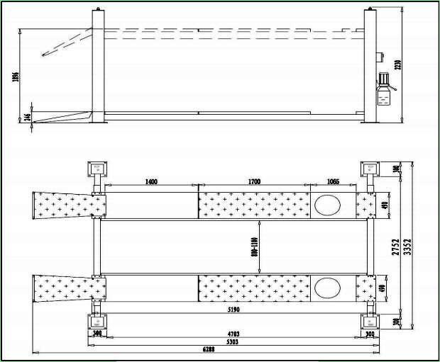 Bản vẽ chi tiết cầu nâng 4 trụ Gaochang GC-4.5F4