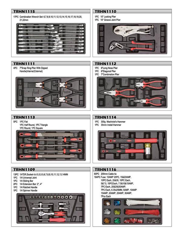 Các chi tiết trong tủ dụng cụ 7 ngăn Torin 217 chi tiết