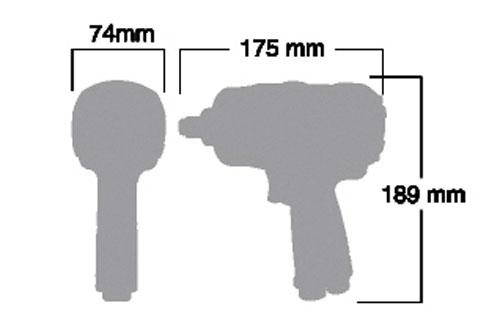 """Kích thước của súng vặn ốc 1/2"""" shinano SI-1490BSR"""