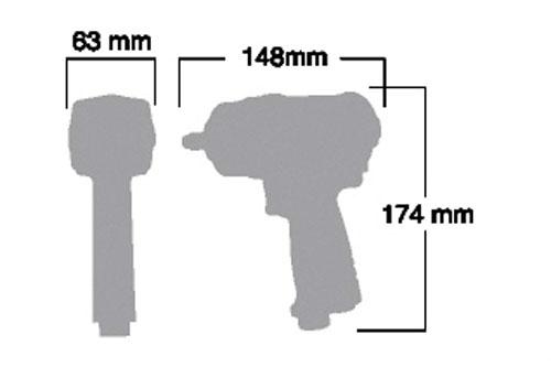 Kích thước súng vặn ốc SI-1605SR