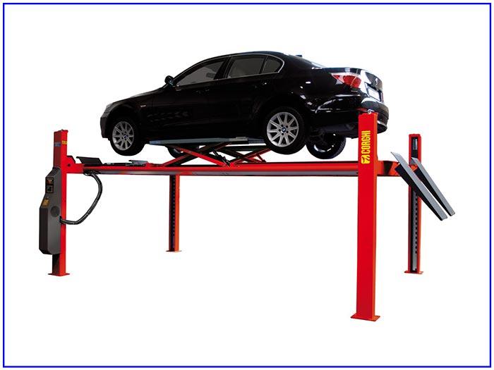 Cầu nâng 4 trụ Corghi kiểm tra góc đặt bánh xe