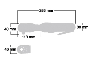 """Kích thước Súng vặn ốc tay ngang 3/8"""" Shinano SI-1320A"""